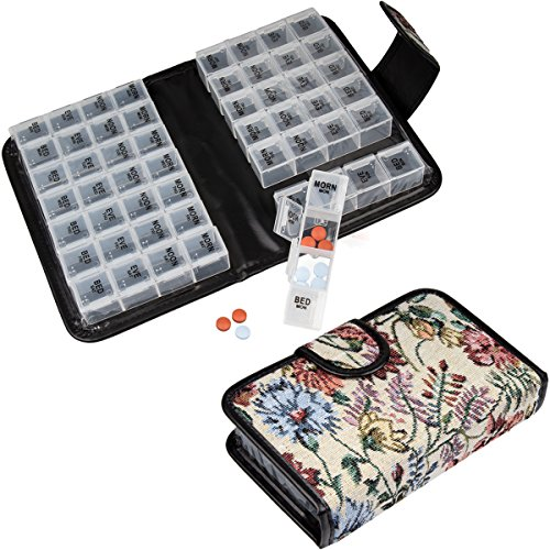 Floral Pill Case Box, Pill Organizer 14 Day Pill Holder Travel Pill Container & Medication Organizer, Travel Case - 4 Marked Compartments for Each Day of The Week - Morn, Noon, Eve, Bed