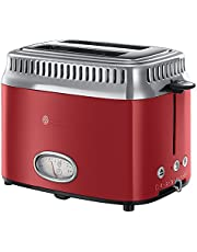 Russell Hobbs Toaster Grille-Pain, 3 Fonctions, Température Ajustable, Réchauffe Viennoiserie, Design Vintage - Rouge 21680-56 Retro