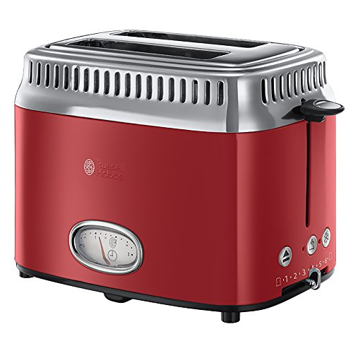 Russell Hobbs Retro Ribbon Red Broodrooster Rood, 2 Sneden, Extra Brede Gleuven, Snel Warm, Lif & Look funtie, RVS/ Hoogglans, 21680-56