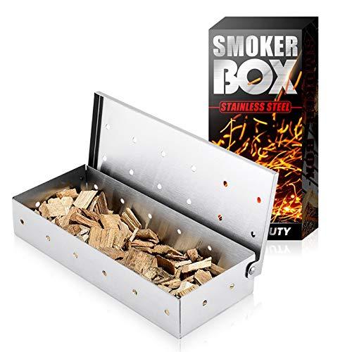 Chutoral Caja para ahumadores de carbón y madera, caja universal de acero inoxidable para ahumadores de carne, accesorios para parrilla, añade sabor a barbacoa ahumada
