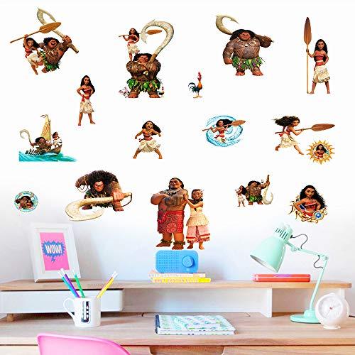 Vaiana Aufkleber Kinder Cartoon Schlafzimmer Hintergrund Wanddekoration Selbstklebend Wandtattoo PVC