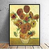 Cuadro de pared pintura al óleo mundial Vincent Van Gogh florero con doce...
