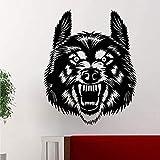Wolf Face Tier Design Vinyl Wandtattoo Wohnkultur Wohnzimmer Kunstbild Wechselrichter Wandaufkleber 58x72 cm