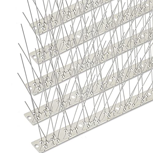 Valibe Bird Spikes Stainless Steel 60ft Coverage for Pigeons Small Birds Outdoor Use Bird Deterrent Strips Devices for Fence Crows Woodpeckers with 304 Stainless Steel Pins and Base Not Rusty