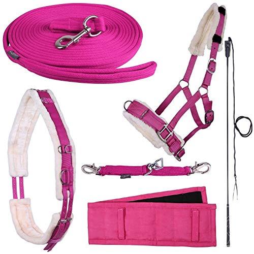 netproshop Longieren Zubehör Farbe Pink Wählen Sie: Zaum, Longe, Pad oder Gurt usw, Auswahl:Kappzaum, Groesse:Shetty