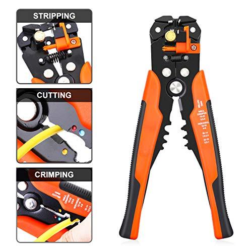 Pinces à Dénuder DANIU Dénudage et Sertissage Multifonction Automatique à Réglage 205 mm pour Câble de 0,2-6 mm² (Orange)