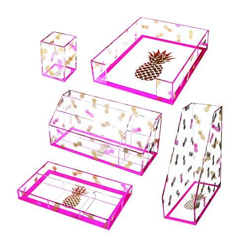 Deflecto Desklarity 5-Piece Set, Precisely Pineapple, Acrylic, Includes Pencil Cup, Organizer Tray, Letter Tray, Desk Valet, Magazine File (41695)
