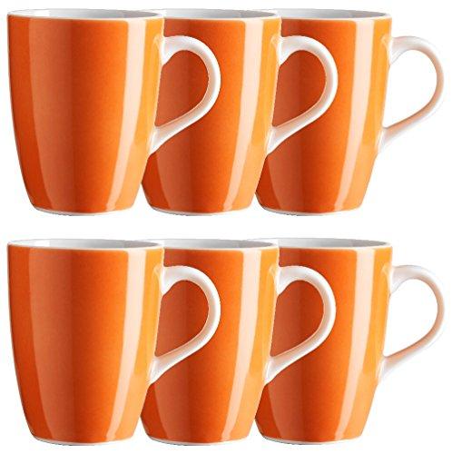 Mäser, Serie Swoon, Kaffeebecher 37,5 cl, im 6er-Set, Porzellan Teller Set in der Trendfarbe ORANGE