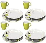 BRUNNER Set di stoviglie in melamina di alta qualità (16 pezzi), con sistema antiscivolo.