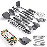 SOUL HAND Soulhand Kochgeschirr Set 11-teiliges Silikon-Küchengerät mit Edelstahlgriff und Silikonständer BPA Free -Pasta Server Spatel Perfekt für Einweihungsgeschenke