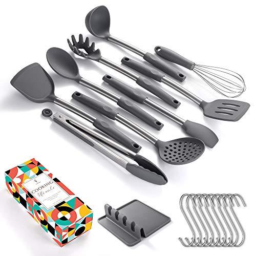 SOUL HAND Souldhand 9-Stück Kochgeschirrset, Silikon-Edelstahl zum Kochen und Servieren von Küchenutensilien Küchenhelfer Set mit Utensilienhalter und Aufhängehaken für Antihaft-Kochgeschirr (grau)