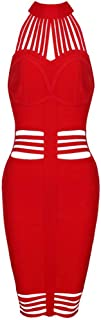 Womens Sexy Hollow Out Strappy Halter Mini Club Bandage Bodycon Dress