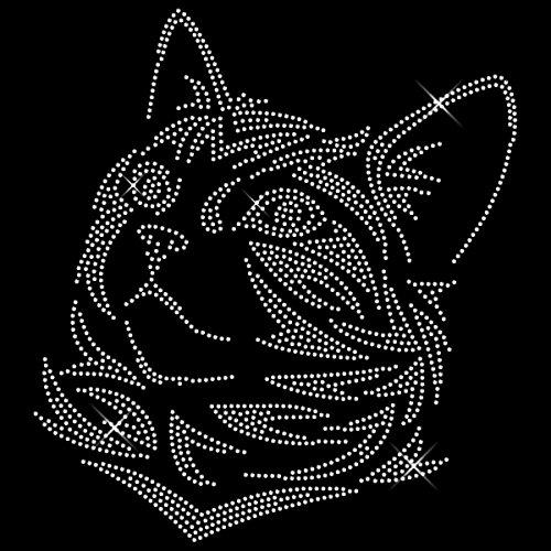 Strassmotiv - Katze XXL hotfix Katze zum Aufbügeln Bügelbild Strassbild