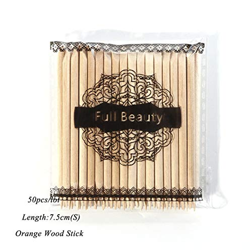 Full Beauty Ch709 Orange Wood Stick Remover Pedicure Manicure Pedicure Nail Art Designs Picker 10/30/50/100 50pcs S