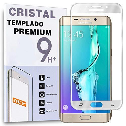 REY Protector de Pantalla Curvo para Samsung Galaxy S6 Edge, Plata, Cristal Vidrio Templado Premium, 3D / 4D / 5D
