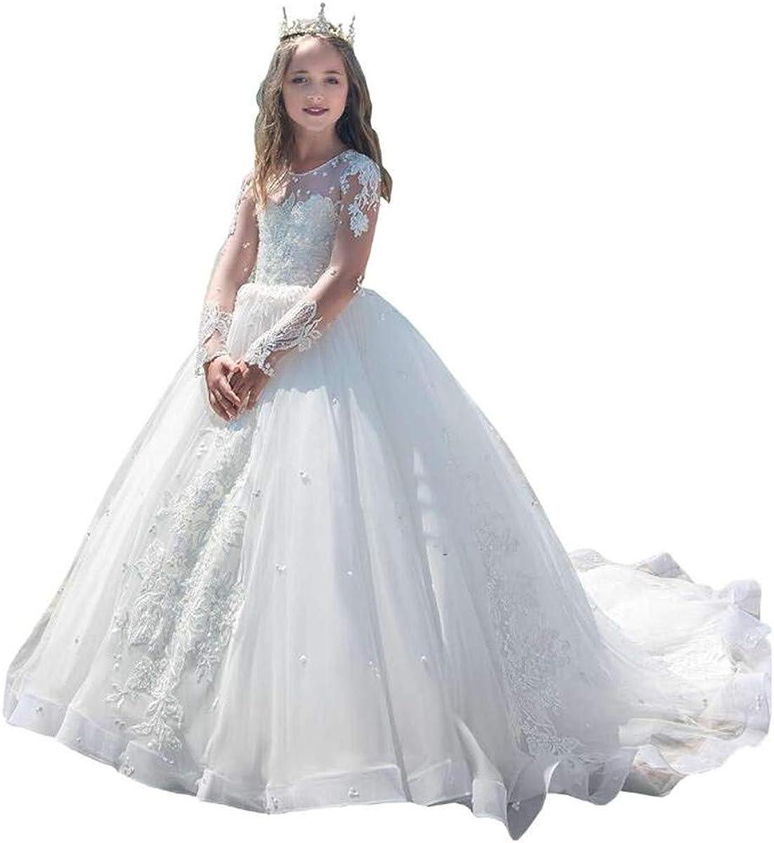 Amazon.com HYGLJL White Flower Girl Dresses for Wedding Luxury ...
