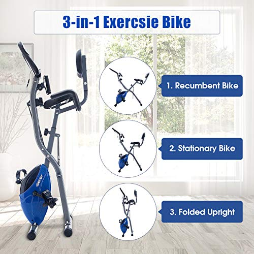 Merax 3 in 1 Adjustable Folding Exercise Bike Convertible Magnetic Upright Recumbent Bike with Arm Bands (Blue