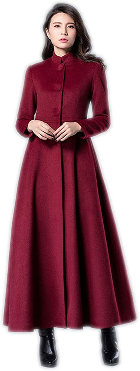 KensMont Women Solid Cashmere Single Breasted Stand Collar Wool Overcoat