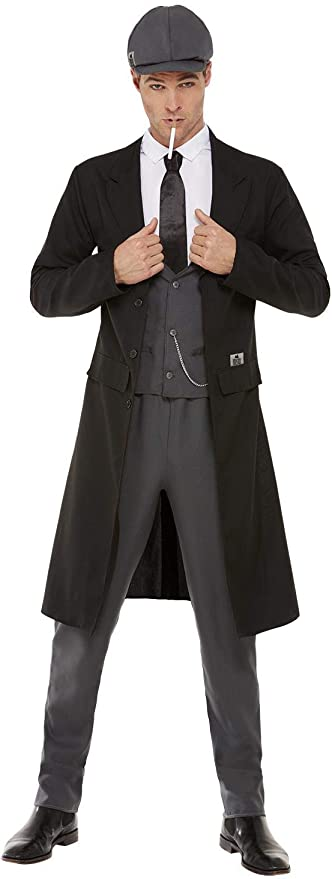 1920s Men's Costumes: Gatsby, Gangster, Peaky Blinders, Mobster, Mafia Smiffys 1920s Blinding Gangster Thug Mens Costume Large 42-44 Black  AT vintagedancer.com