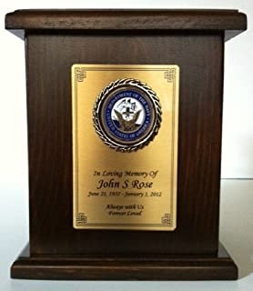 Navy Cremation Urn w/Engraving Solid Hard Wood Military Funeral Urn