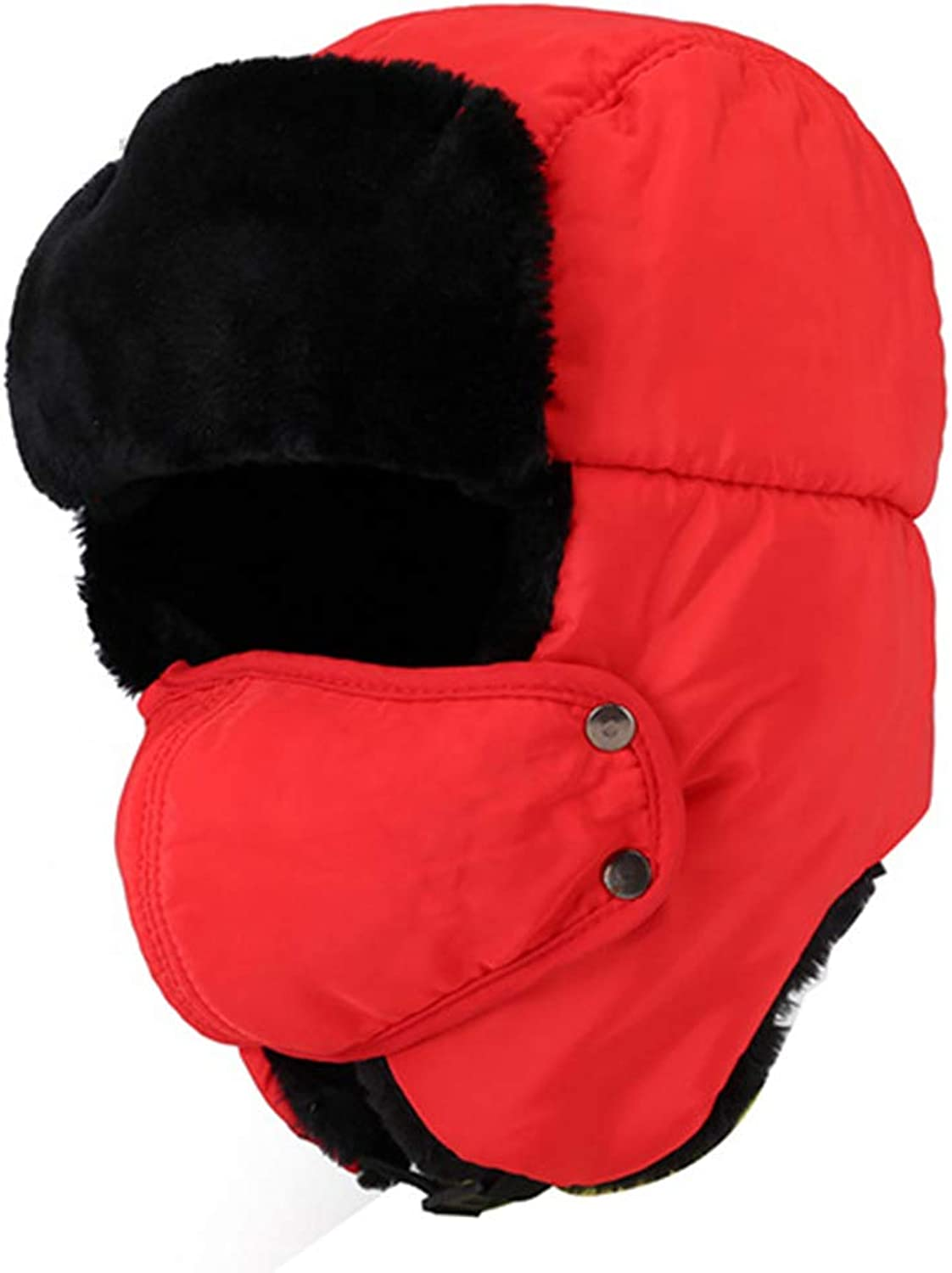 Winter Men and Women Hat Lei Feng Cap with Mask Outdoor Warmth Thickening Flannel Cycling Windproof and Cold Cap