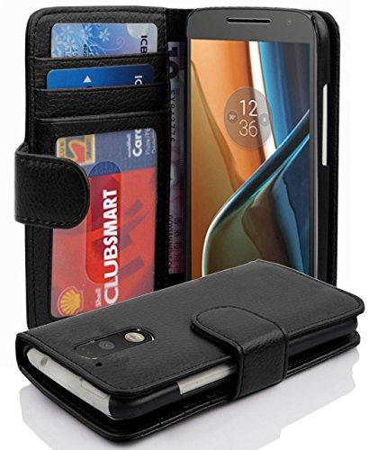 Cadorabo Hülle für Motorola Moto G4 / G4 Plus in Oxid SCHWARZ – Handyhülle mit Magnetverschluss und 3 Kartenfächern – Case Cover Schutzhülle Etui Tasche Book Klapp Style