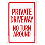 Private Driveway, No Turn Around Sign, 18' x 12'   Reflective Pre-Drilled Metal Industrial Warning Sign to Keep Cars Off Private Property, Parking Lots, Yards, Homes, Neighborhoods & Businesses