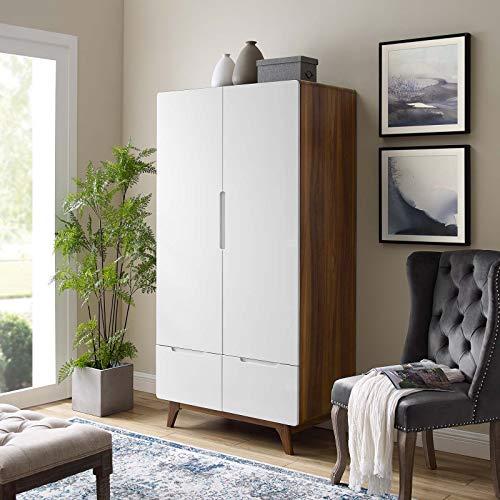 Modway Origin Contemporary Mid-Century Modern Wardrobe Cabinet in Walnut White