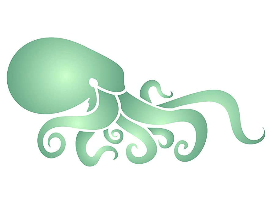Octopus Stencil - 6 x 3 inch (S) - Reusable Sea Ocean Nautical Seashore Reef Wall Stencil Template - Use on Paper Projects Scrapbook Journal Walls Floors Fabric Furniture Glass Wood etc.
