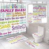 4 Piece Fun Modern Family Rules Backdrop Kids...