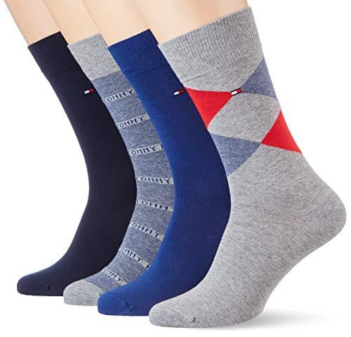 Tommy Hilfiger Herren TH MEN 4P GIFTBOX ARGYLE Socken, Grau (Tommy Original 085), (Herstellergröße: 43/46) (4er Pack)