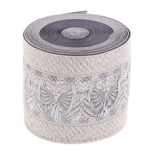 P Prettyia 5 Meter Retro Borte Stoffborte Webband Stoffbänder Stoffbordüre Nähen Band Weiß, Schöne Bänder zum basteln - 6 cm
