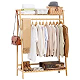 COPREE Bamboo Garment Coat Clothes Hanging Heavy Duty Rack with top Shelf and Shoe Clothing Storage Organizer Shelves