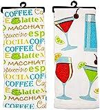 Stephanie Imports Coffee + Wine Glasses - Set of 2 Multi-Purpose 100% Cotton Kitchen Dish Towels 18' x 28'