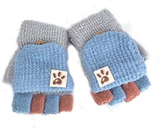 Guanti senza dita per bambini, autunno e inverno, caldi, a 5 dita, lavorazione patchwork, unisex, per bambino e bambina da...