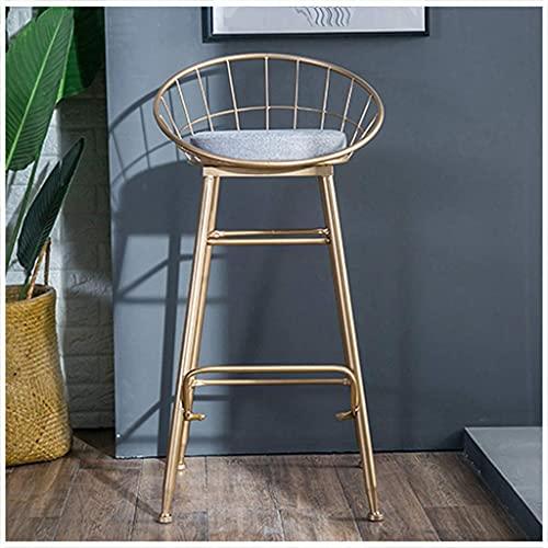 Silla de bar, silla de bar minimalista moderna de metal dorado, silla alta con asiento de terciopelo, opción ideal para sala de estar, balcón, hogar, altura del asiento: 17,7 pulgadas / 25,5 pulgada