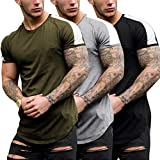 COOFANDY Mens 3-Pack Workout Shirts Hipster Slim Fit T-Shirt Longline Muscle Tee (B/GR/ARG M)