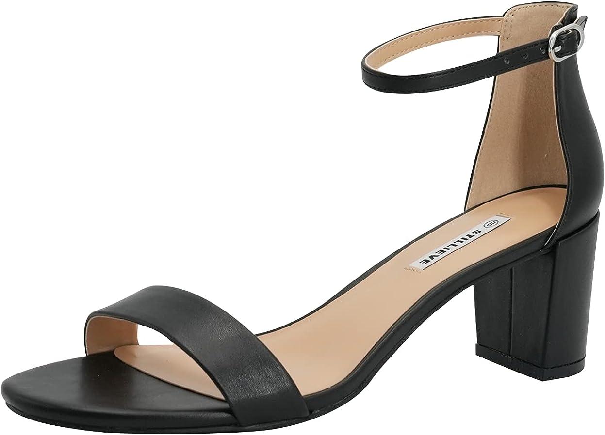 STILLIEVE Women's Ankle Strap Low Block Heel Sandal