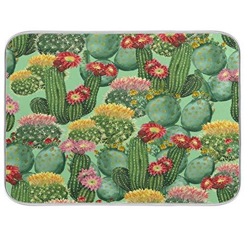 Watercolor Cactus Dish Drying Rack Pad Bottle Dryer Rack Microfiber Dish Drying Mat - 18x24In