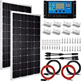 Pikasola 200 Watt 12/24V Solar Panel Kit for RV Boat Home: 2pcs 100W Monocrystalline Solar Panel Grade A + 12/24V Solar Charge...