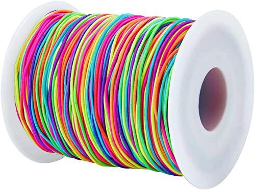 Hilo Elástico Cuerda,1 Rollo100M Cordón de Abalorios Elástico 1mm Hilos Cuerda Hilo elástico de Poliéster para coser Braceletes Colgantes Collar Collares Fabricación de Joyas DIY