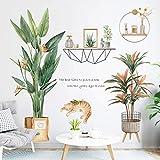 Planta verde La La La La 子 Pegatinas frescas Literario Adorno de cálido Sala de estar Dormitorio Impermeable Fondo de pantalla Flower Cat 2 / Set
