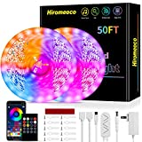 LED Strip Lights 50ft, Hiromeco Music Sync LED Lights Bluetooth App Controlled with Remote Mic Color Changing, 5050 Smart RGB Rope Lights for Kids Kitchen Room Lights (APP+Remote+Mic+3 Button)