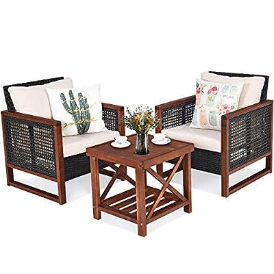 Tangkula 3 Pieces Patio Wicker Furniture Set, Rattan Outdoor Sofa Set w/Washable Cushion & Acacia Wood Coffee Table, Conversation Bistro Set for Garden Balcony Backyard (Black & Brown)