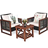 Tangkula 3 Pieces Patio Wicker Furniture Set, Rattan Outdoor Sofa Set w/Washable Cushion & Acacia Wood Coffee Table, Conversation Bistro Set for Garden Balcony Backyard (Beige)