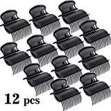 Hot Roller Clips Hair Curler Claw Clips Replacement Roller Clips for Women Girls Hair Section Styling (12 Pieces, Black)