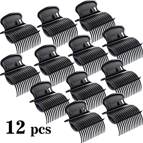 12 Pieces Hot Roller Clips Hair Curler Claw Clips Replacement Roller Clips for Women Girls Hair Section Styling (Black)