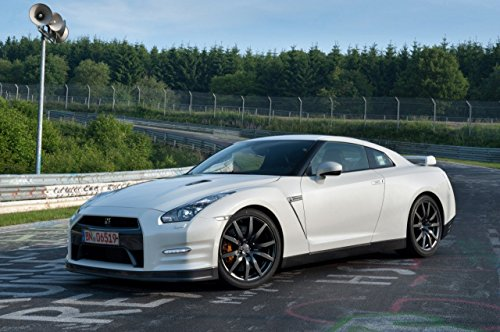 """Nissan GT-R Car Art Poster Print on 10 mil Archival Satin Paper White Front Side View 36""""x24"""""""