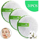 Reusable Makeup Remover Pads, Facial Make Up Removal Wipes, Washable Face Cleaning Cloths, Soft Cotton Rounds Towelettes, Hypoallergenic for Mascara, Eye Shadow, Lipstick, Foundation -3 pcs, 4.5' Dia
