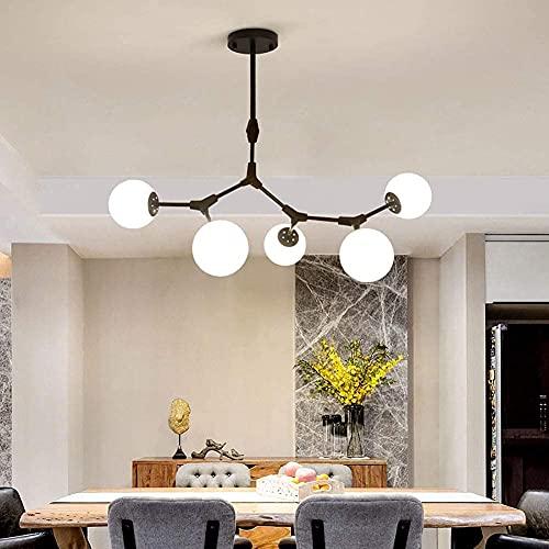 GTTXJY Colgante de la Lámpara, Luz de Techo, Ajustable Nordic Modern Sputnik Colgante de Pelleza de Plancha para Cocina Comedor Sala de Estar,Negro,4 Luces